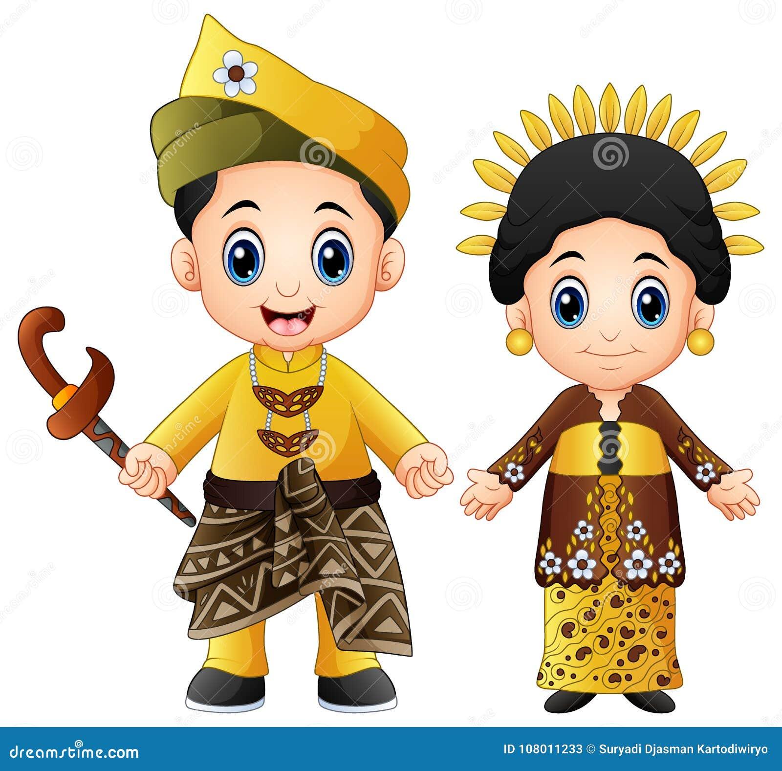 Cartoon Malaysia Couple Wearing Traditional Costumes Stock