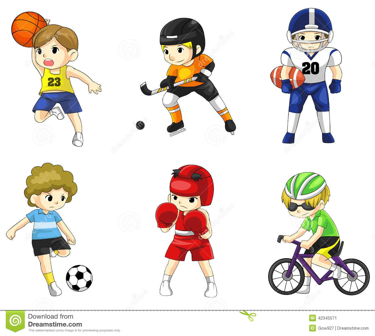 Cartoon Male Athlete Icon In Various Type Of Sport Stock