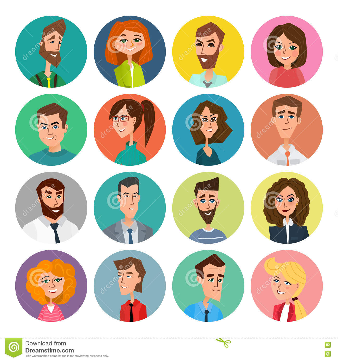 Faces Set People Avatars Collection Vector Illustration