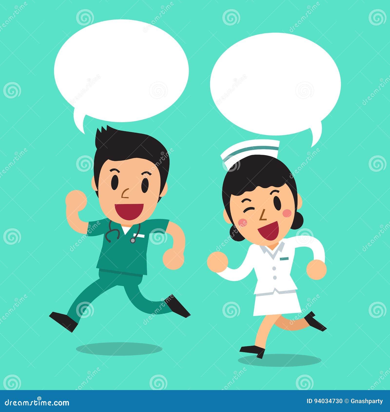 Cartoon Male Nurse And Female Nurse With Speech Bubbles -6320