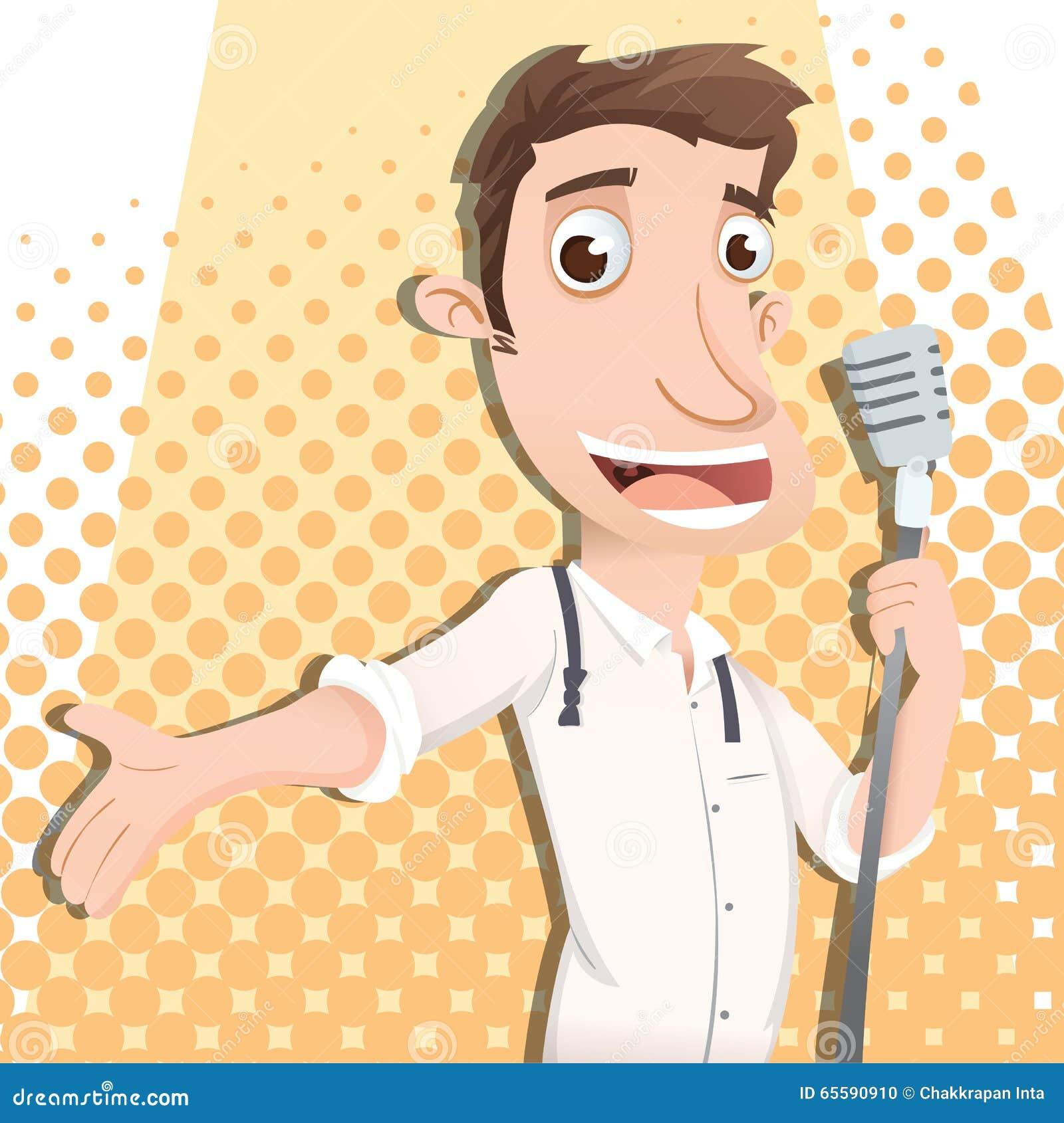 Cartoon male singer stock vector. Image of sing, cartoon ...