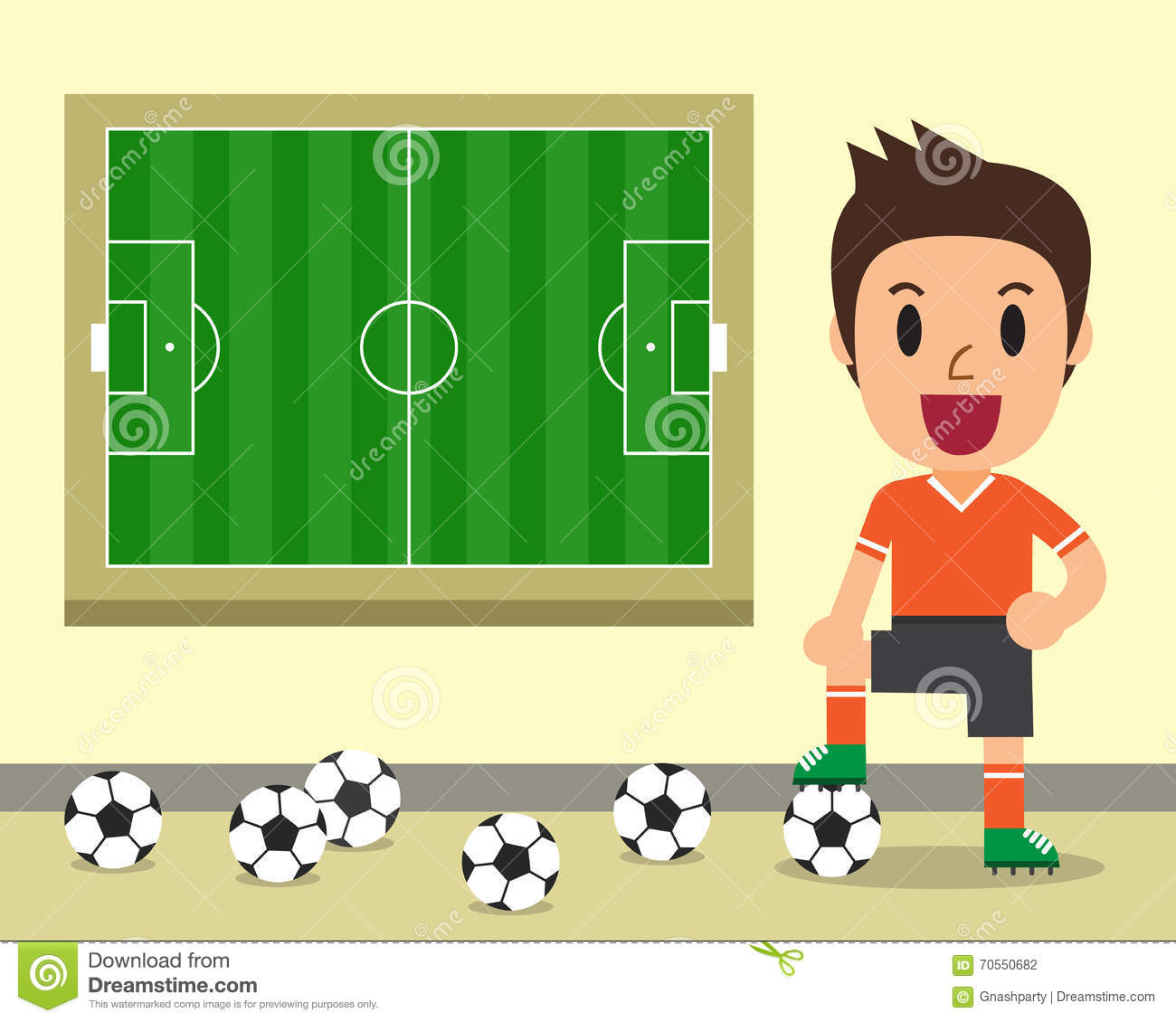 Cartoon Male Soccer Player And Soccer Field Template Stock Vector