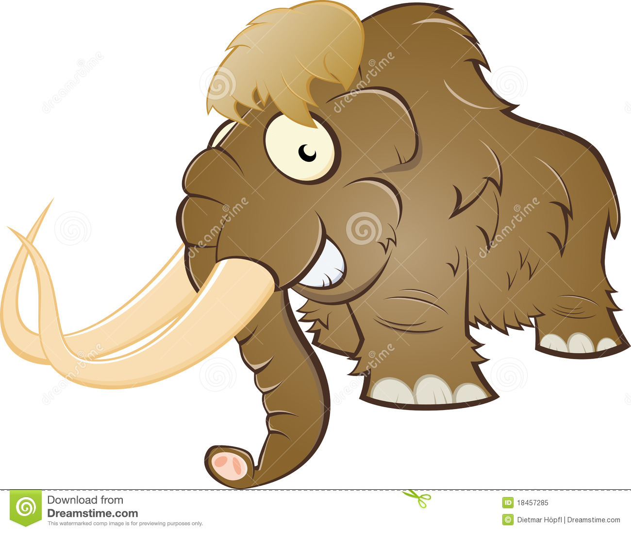 Cartoon illustration of brown mammoth; isolated on white background.