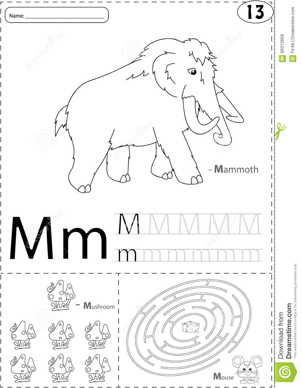 Stock Illustration Cartoon Mammoth Mushroom Mouse Alphabet Tracing Worksheet Writing Z Coloring Book Educational Game Kids Image66212669 on letter e vector
