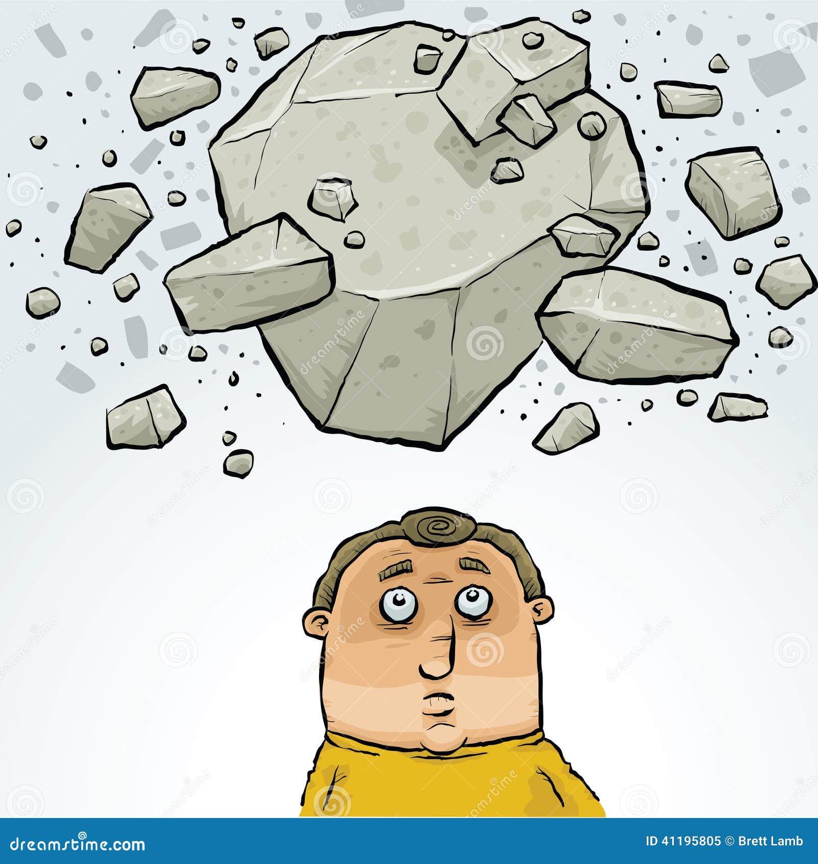 Cartoon Man in Avalanche stock illustration. Illustration ...