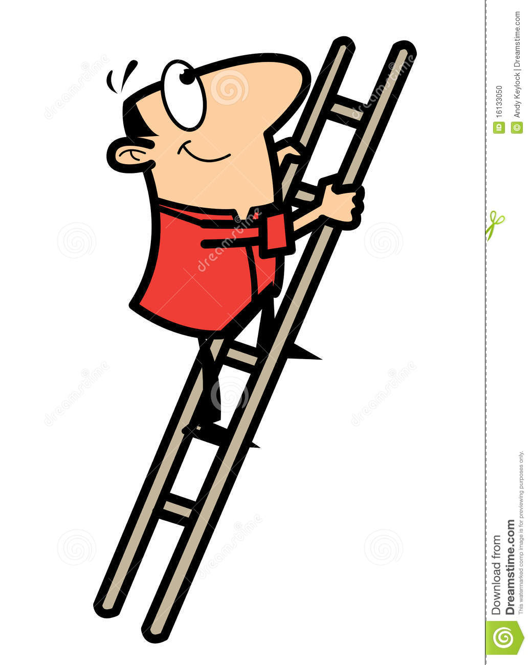 Cartoon Man Climbing Ladder Stock Vector Illustration Of
