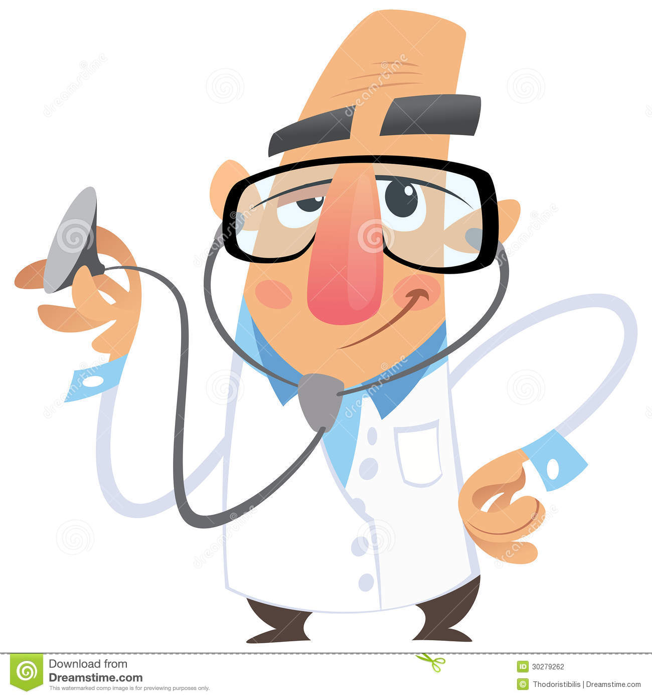 Cartoon man doctor smiling while examining using his stethoscope