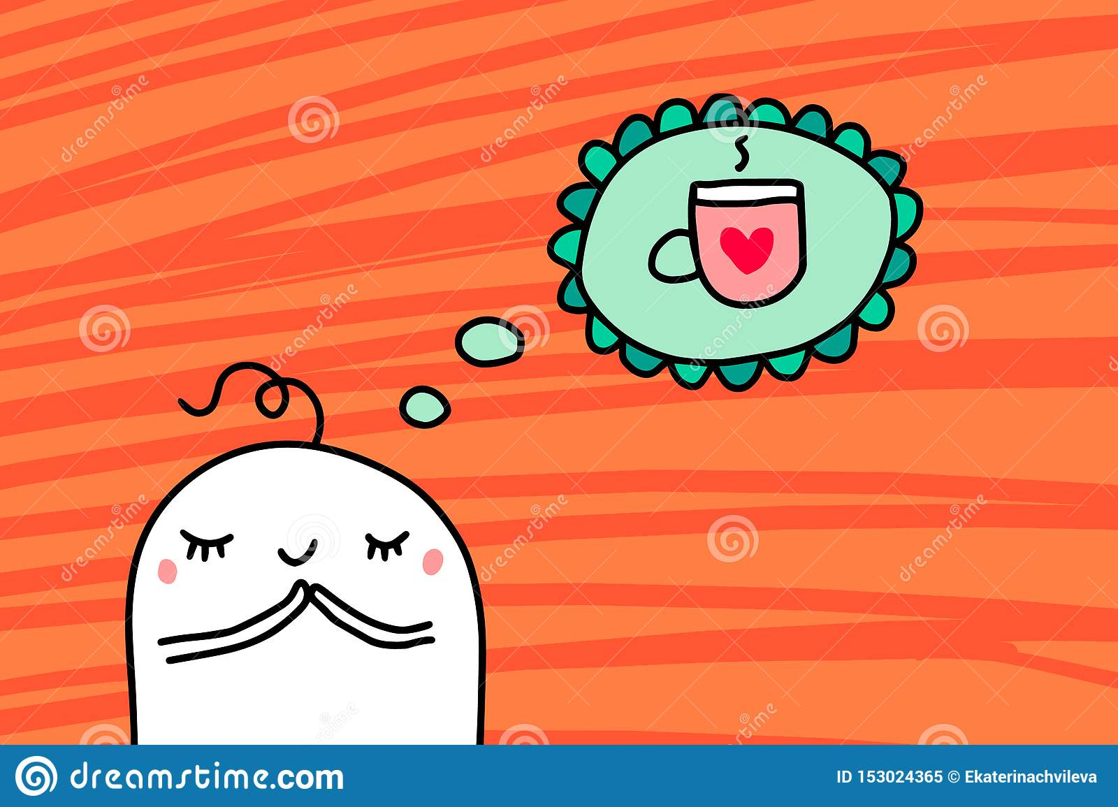 Cartoon man dreaming about cup of hot coffee hand drawn vector illustration on orange textured background