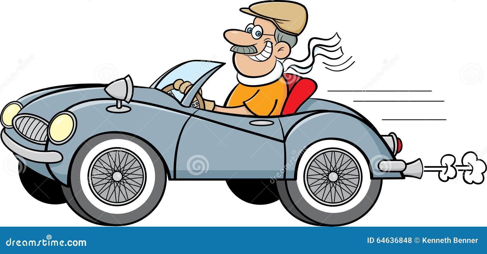 Cartoon Man Driving A Sports Car Stock Vector Image 64636848