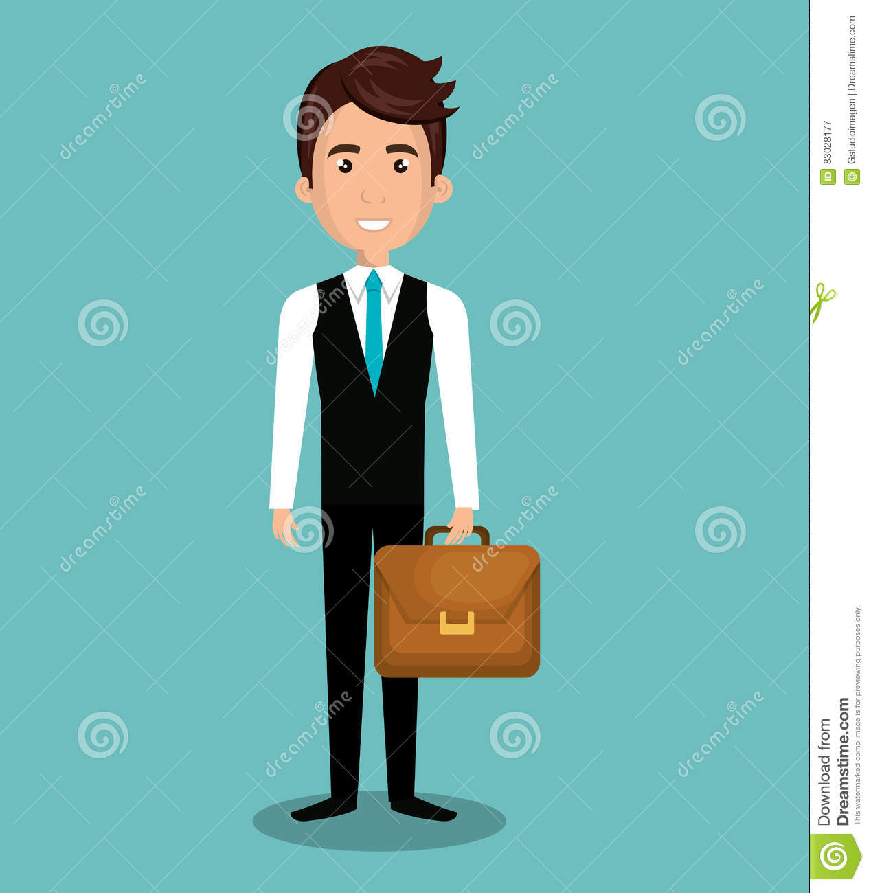 Executive Cartoon: Cartoon Man Executive Business Briefcase Isolated Stock