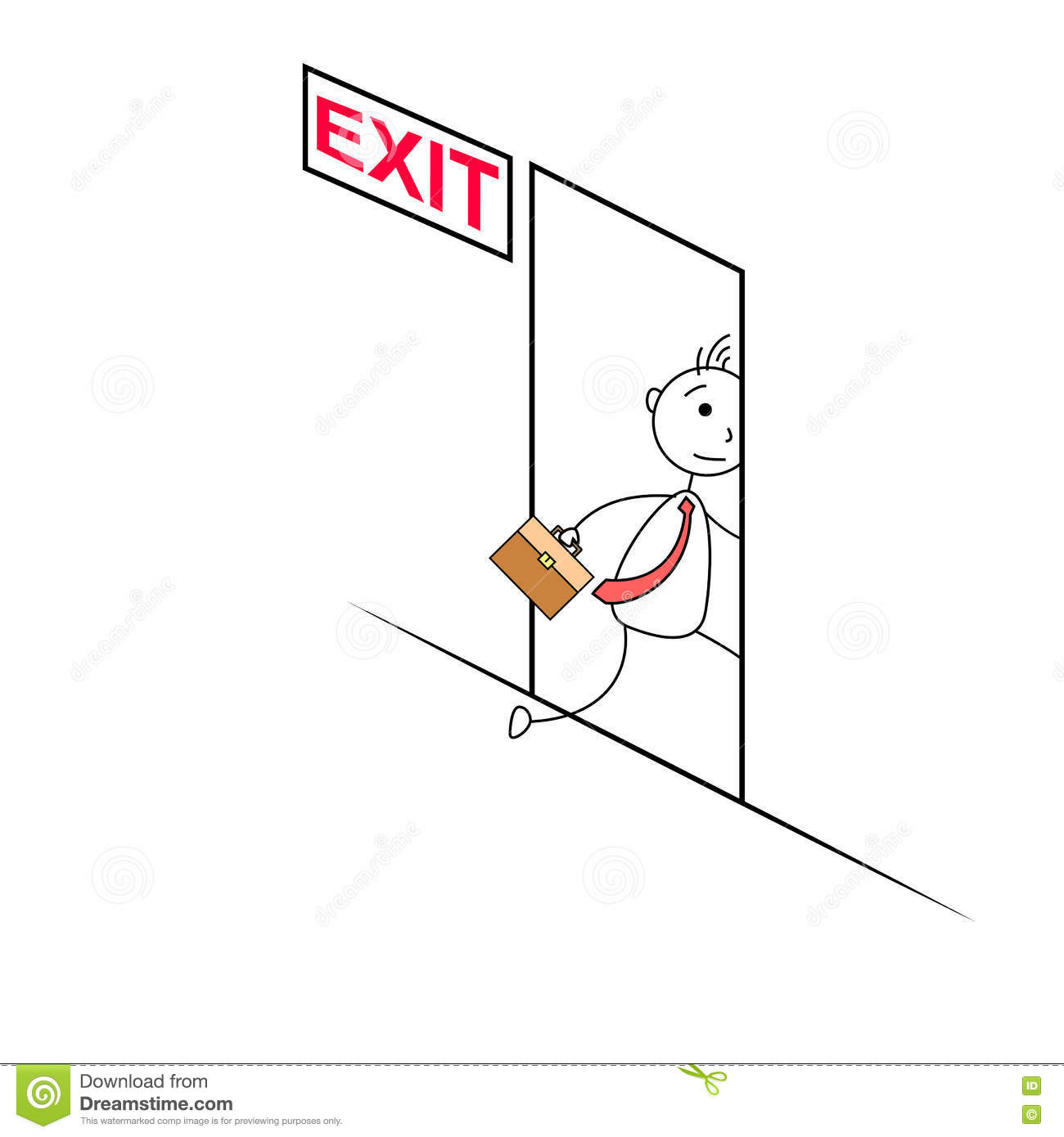 Cartoon Man Exiting Through A Door Stock Vector - Image: 73679773