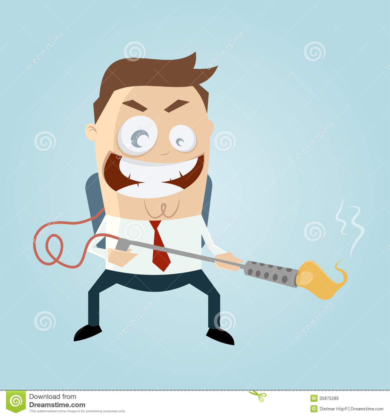Cartoon Man With Flamethrower Royalty Free Stock Images
