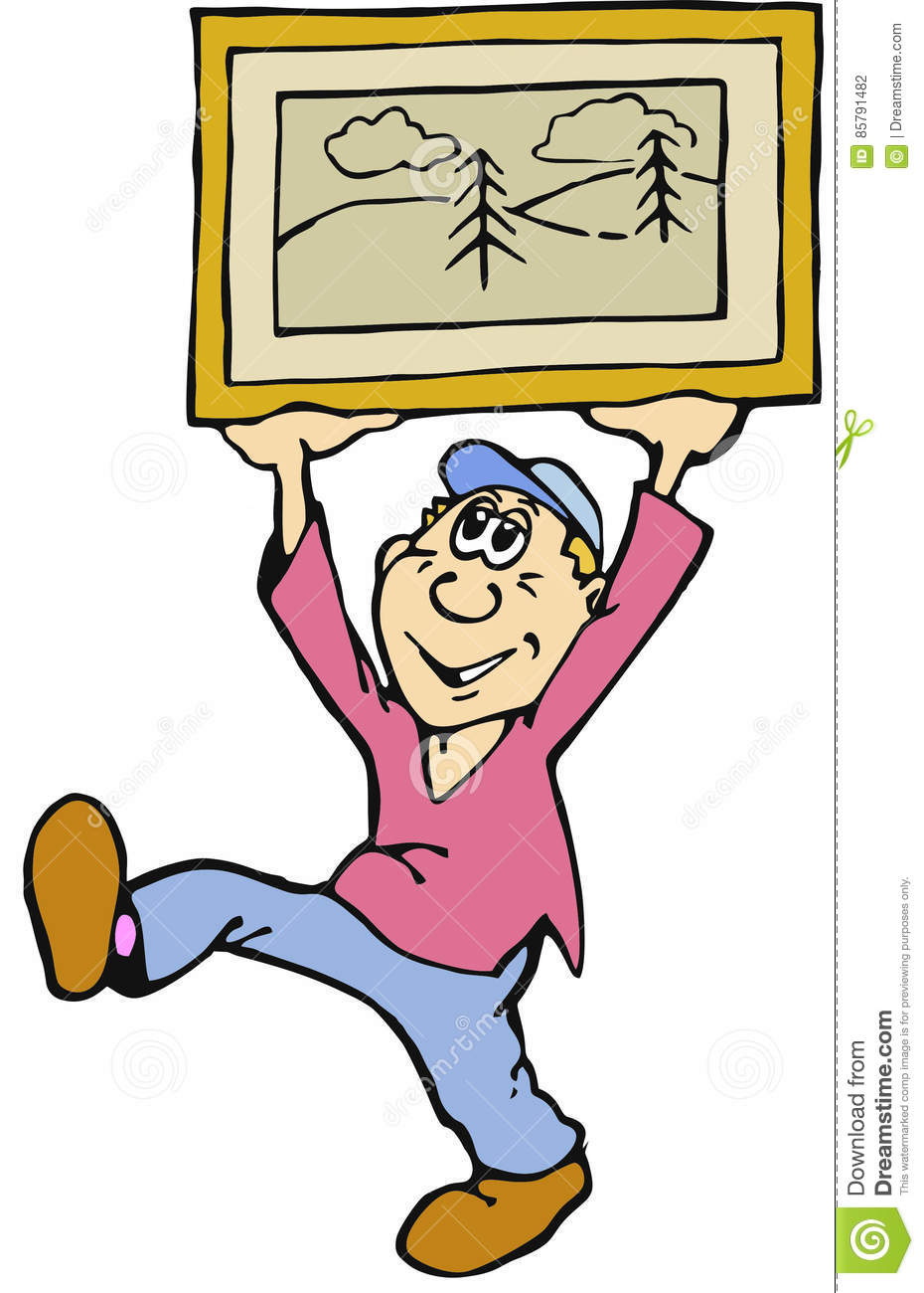 Cartoon Man with Framed Picture
