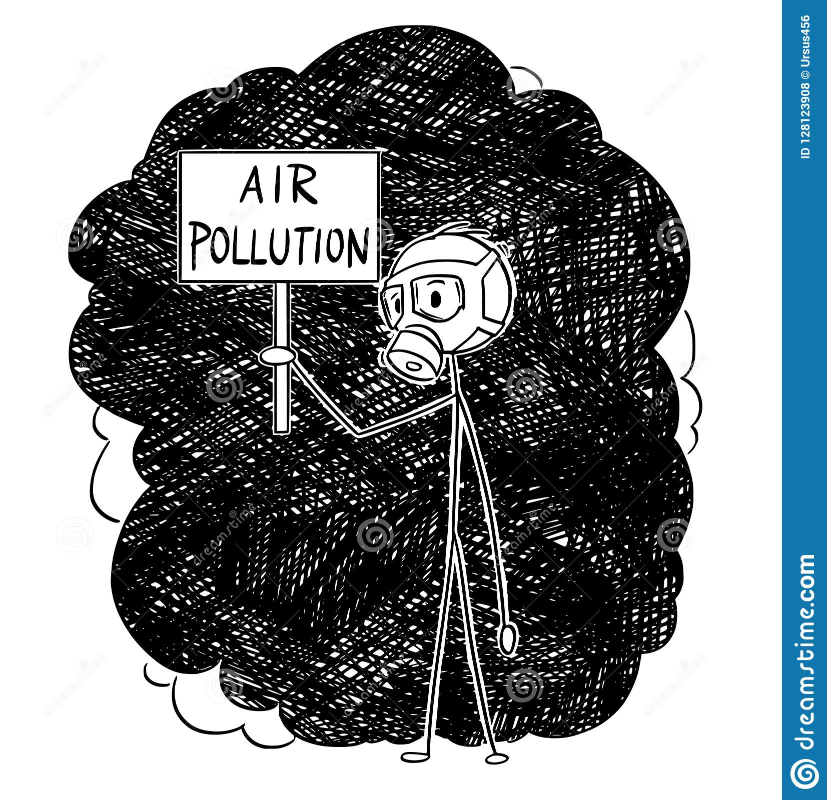 Cartoon stick drawing conceptual illustration of man with or wearing a gas mask and standing in smog and holding air pollution sign