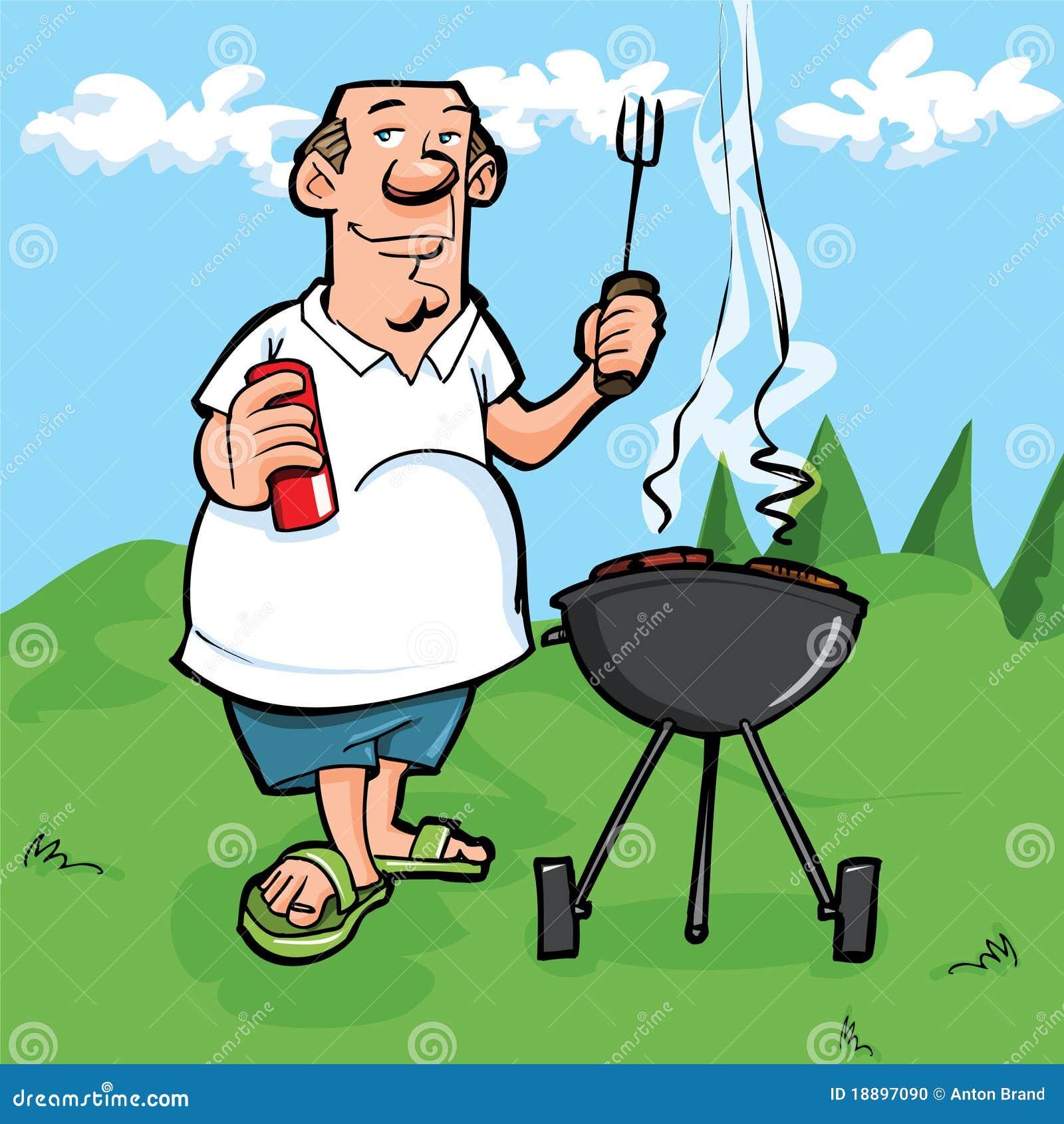 Barbeque cartoon cartoon of man having a bbq