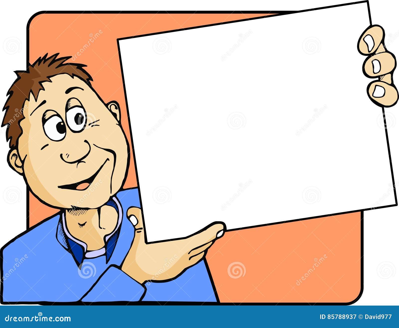 Cartoon Man Holding a Blank Notice