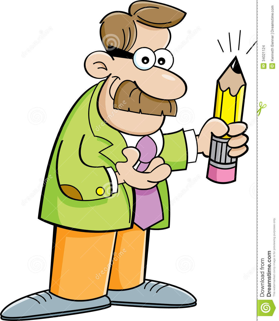 Cartoon man holding a pencil stock vector illustration