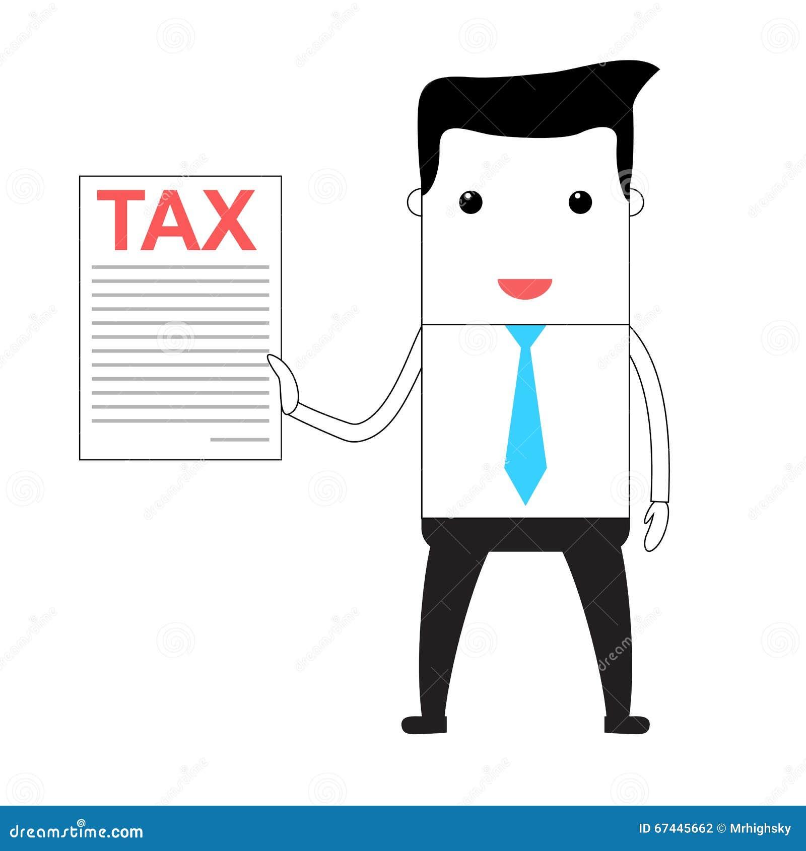 cartoon man holding a tax form stock illustration illustration of