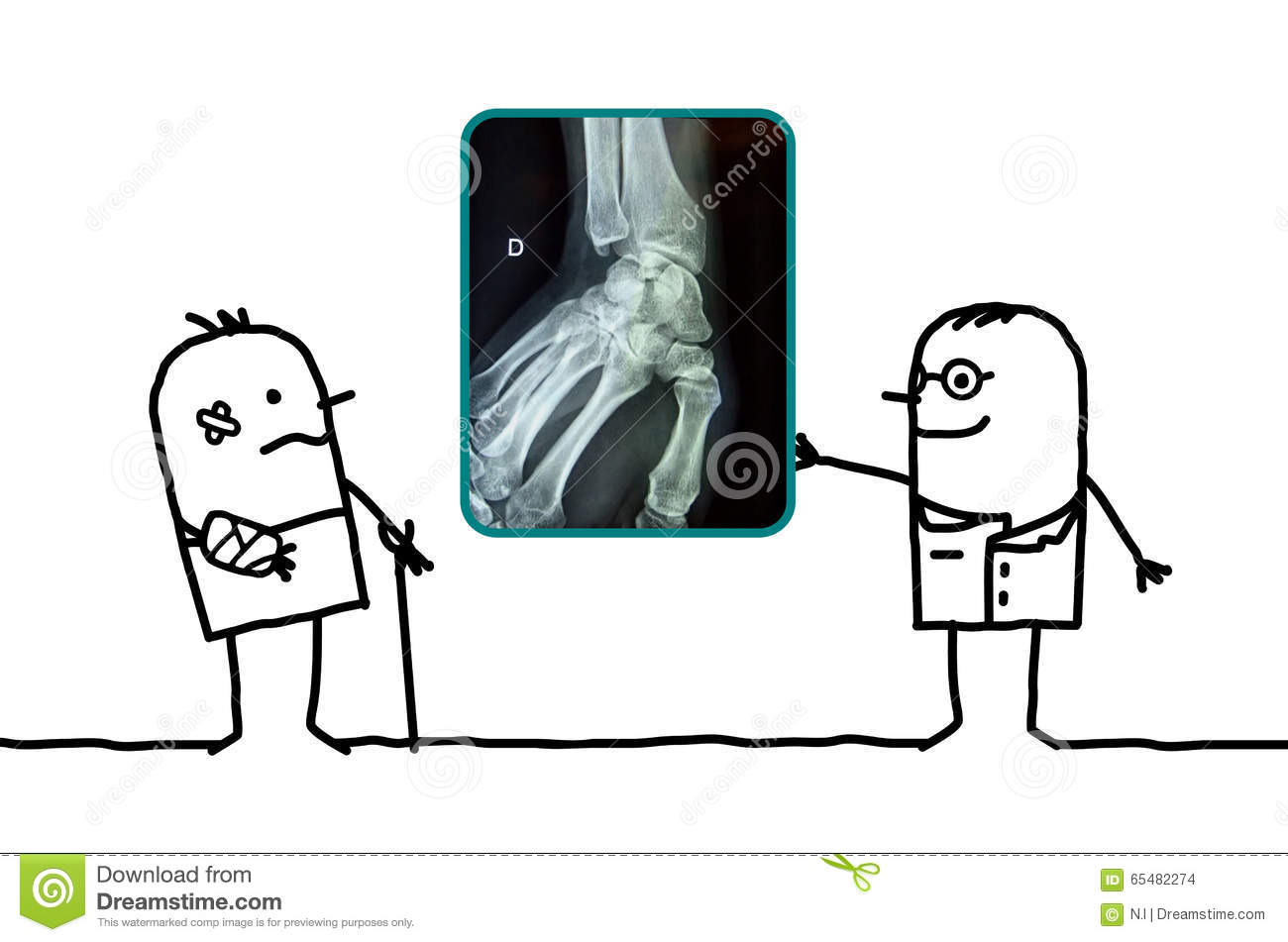 cartoon man injured his hand and doctor showing an xray