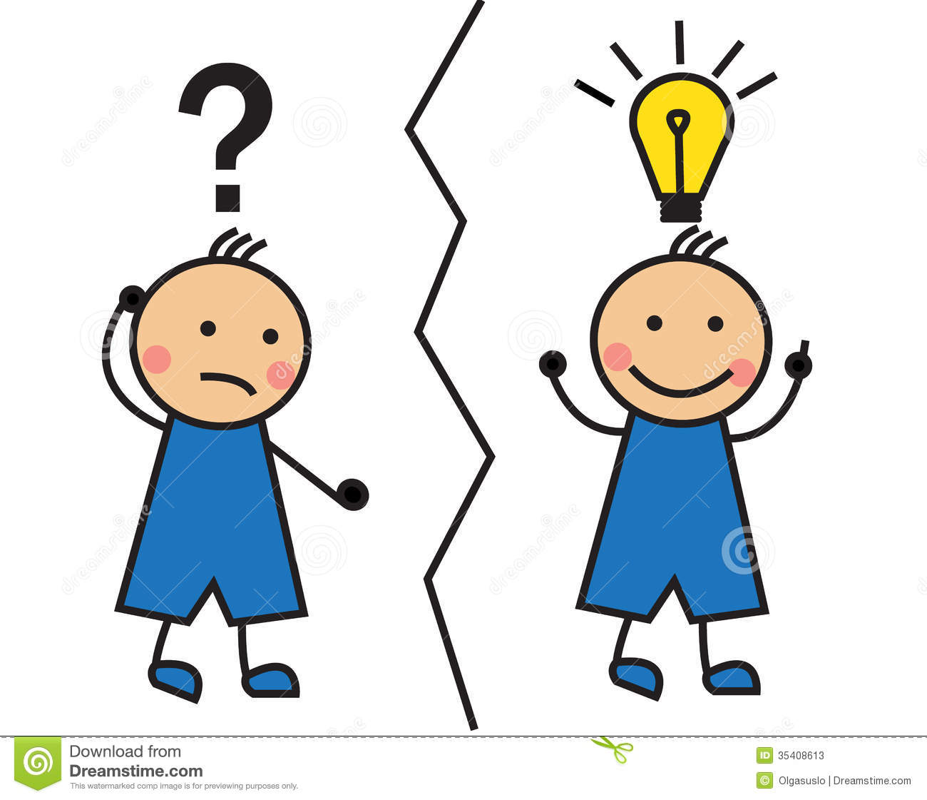 cartoon man looking solution comes to mind idea question mark light bulb over his head 35408613 - NHỮNG TỪ DỄ GÂY NHẦM LẪN TRONG TIẾNG ANH