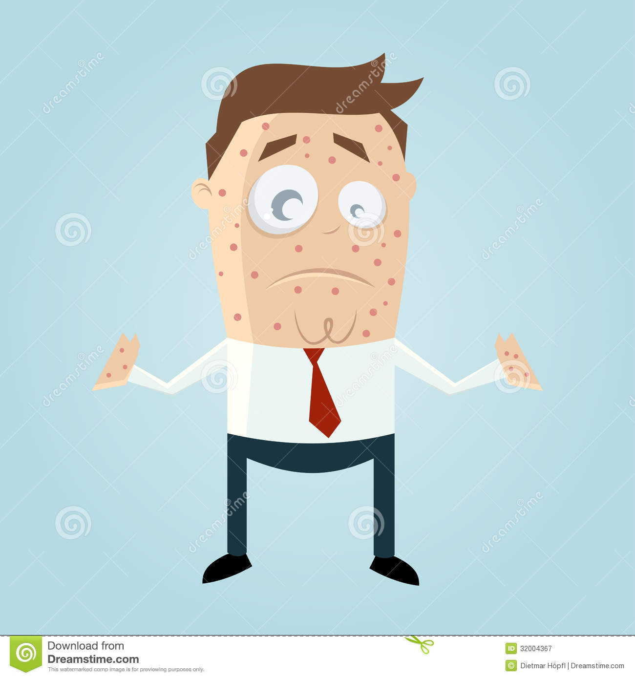 Cartoon Man With Measles Royalty Free Stock Photography - Image ...