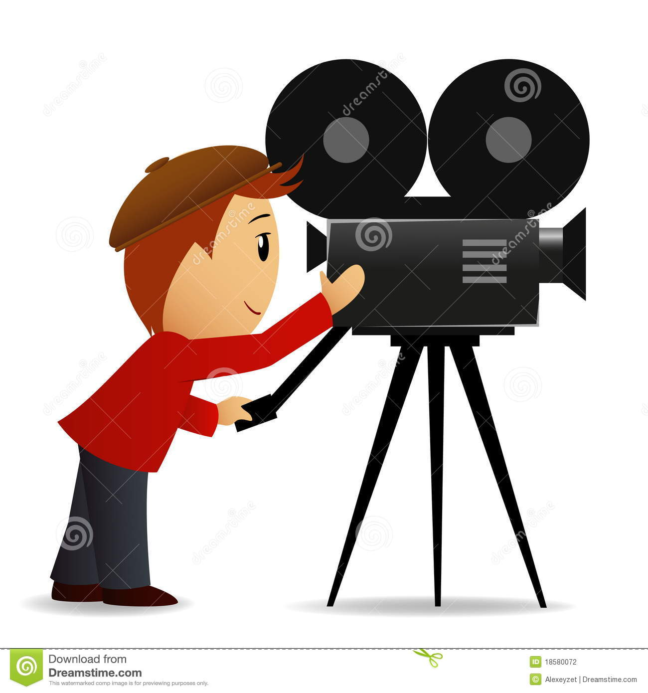 Vector illustration. Cartoon man shoot the cinema with movie camera.
