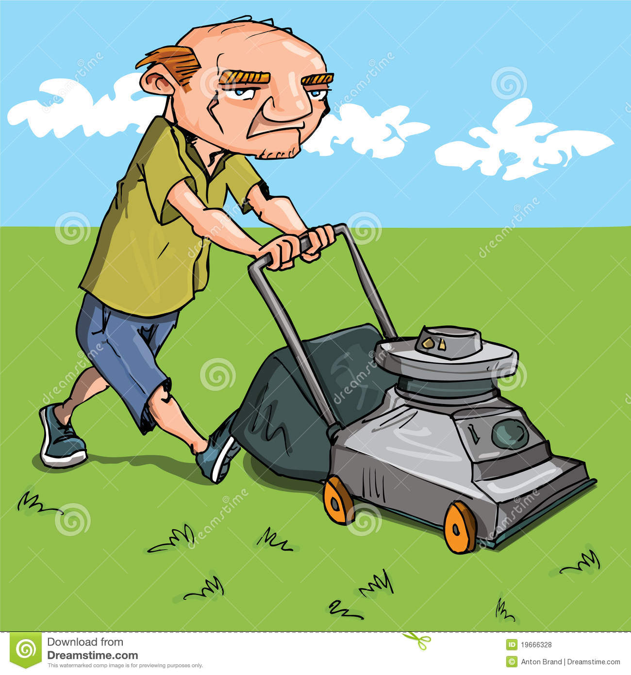 cartoon man mowing his lawn stock vector illustration lawn mowing clipart black and white lawn mowing clipart black and white