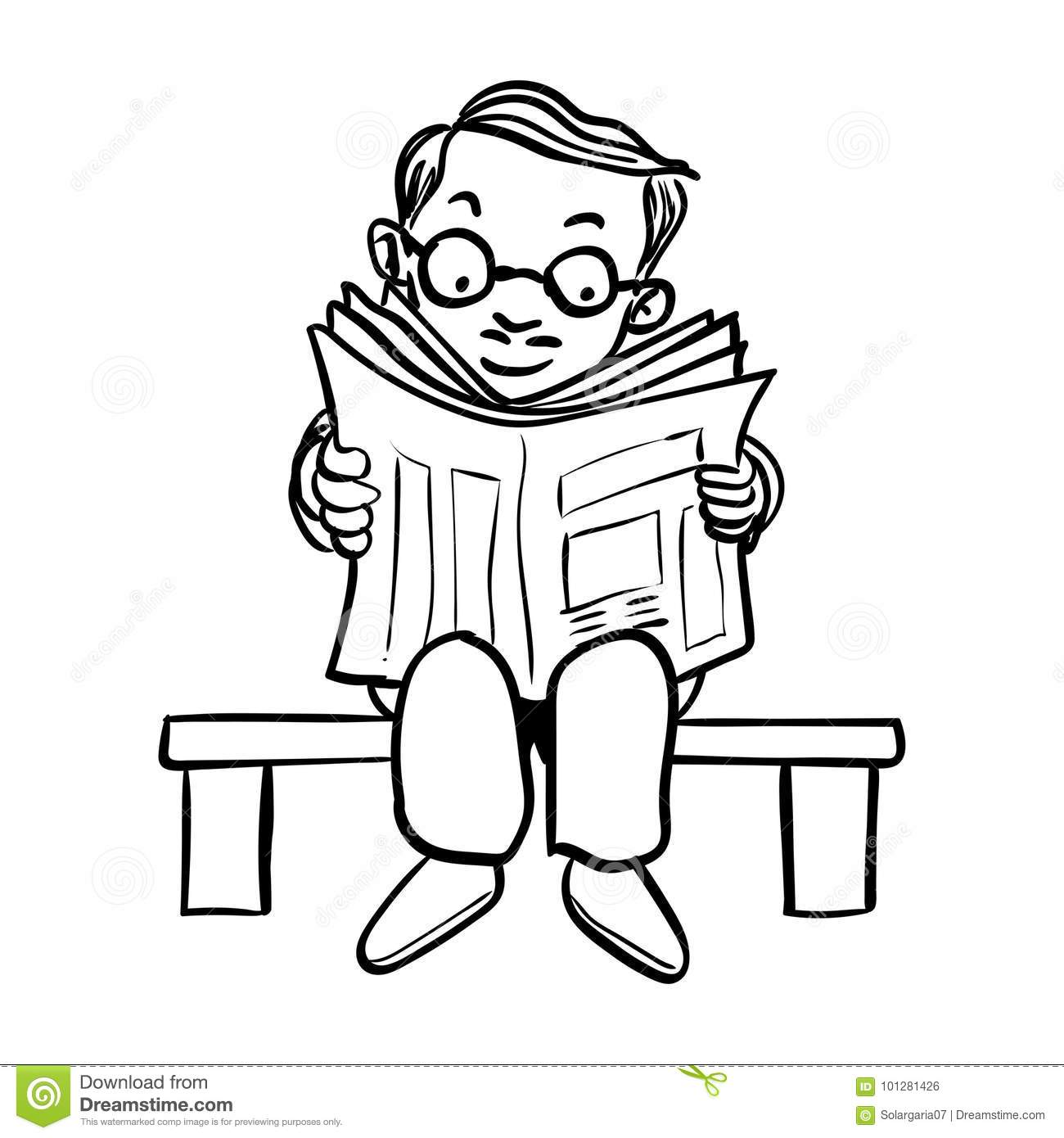 cartoon man read newspaper-vector drawn stock vector - illustration