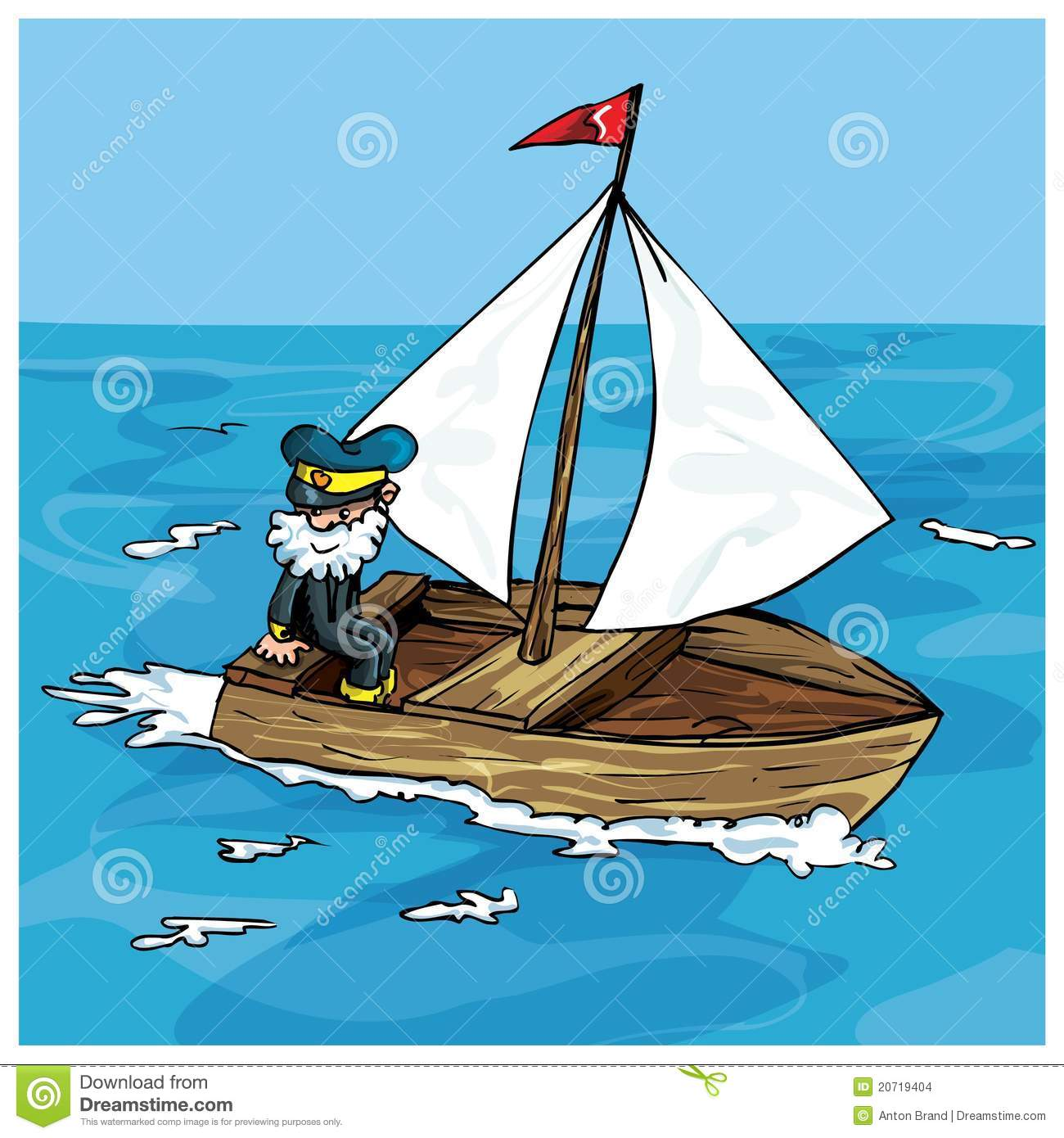 Cartoon Of Man Sailing In A Small Boat Stock Vector - Illustration