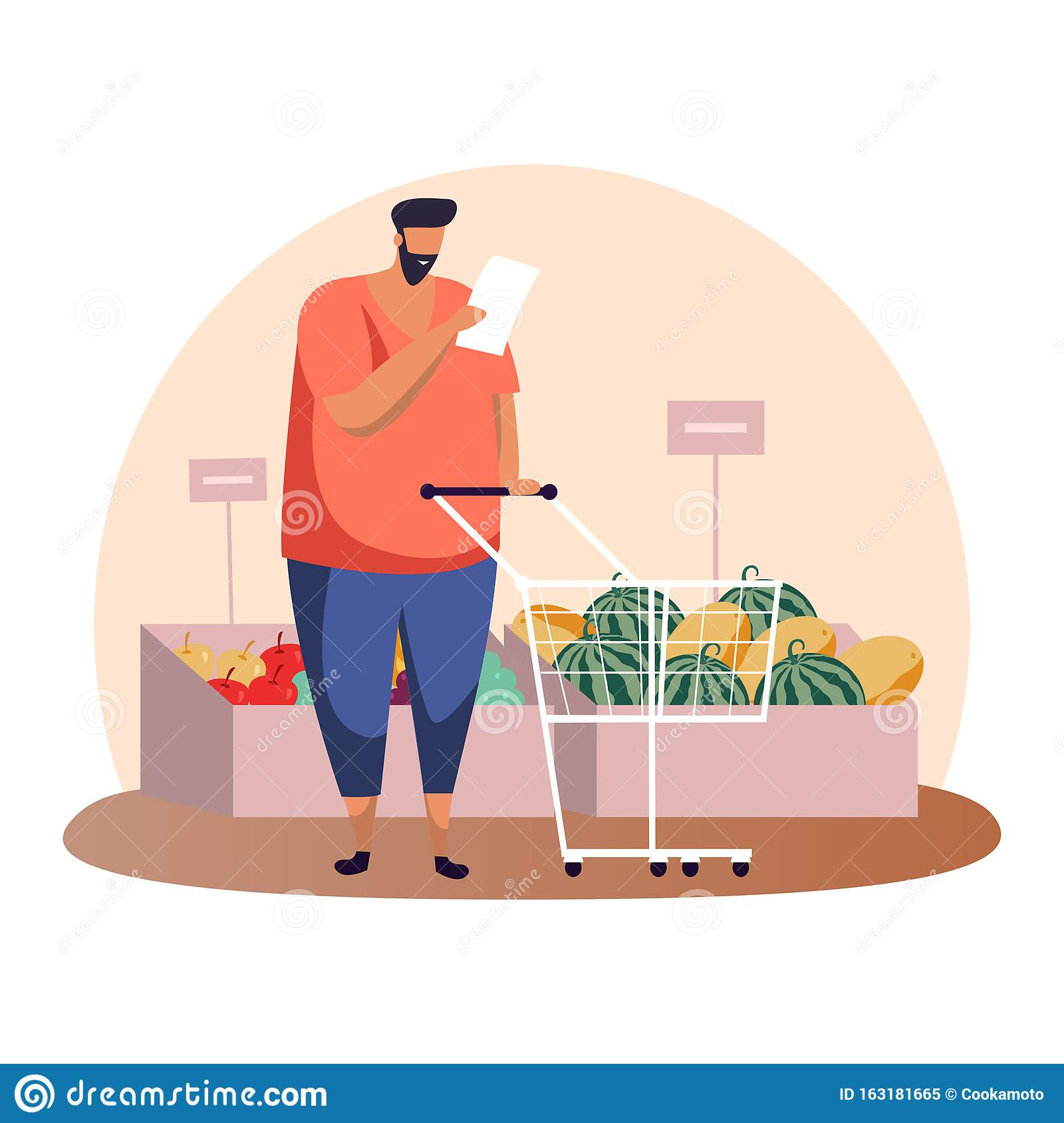 Cartoon Man With Shopping List And Cart Or Trolley Stock Vector Illustration Of Apple Holding 163181665