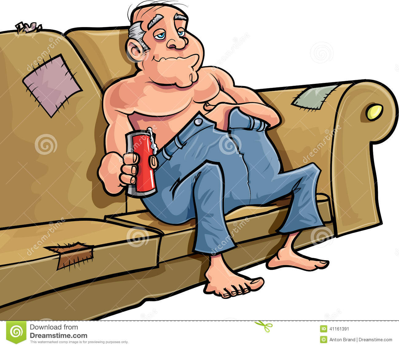 Cartoon Man Sitting On A Couch With A Beer Stock