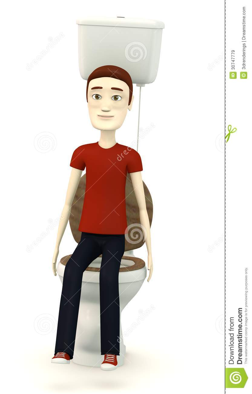 Cartoon Man Sitting On Toilet Royalty Free Stock Images