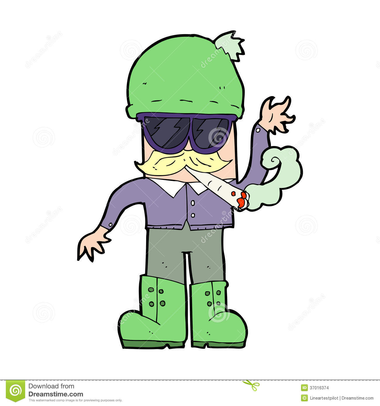 Cartoon Man Smoking Pot Stock Images - Image: 37016374