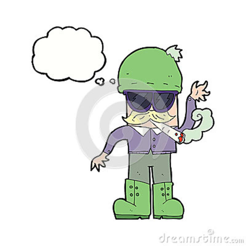 Cartoon Man Smoking Pot With Thought Bubble Stock Photo ...