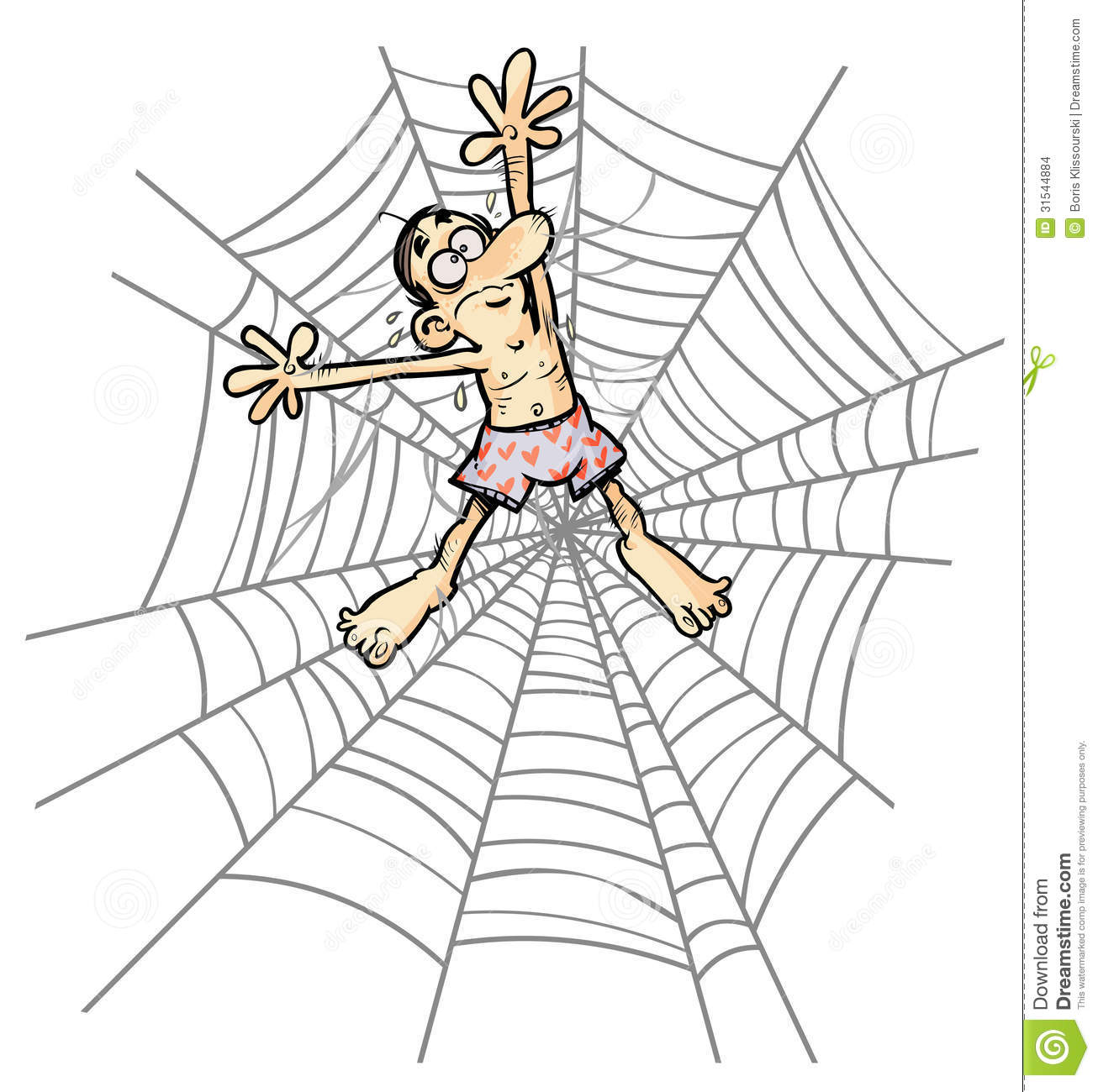 Cartoon Man In Spider Web. Stock Images - Image: 31544884