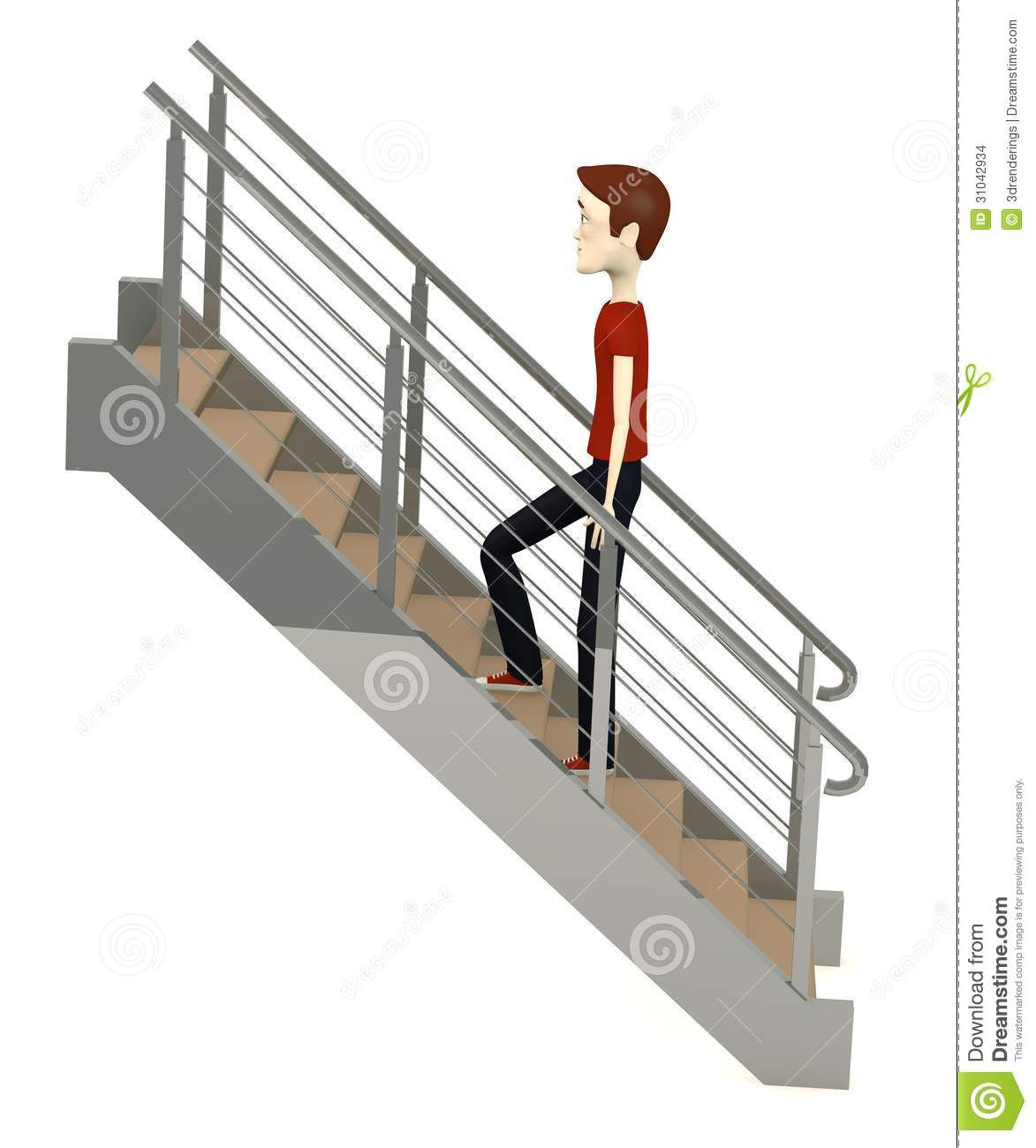 Cartoon Man On Stairs Stock Images Image 31042934