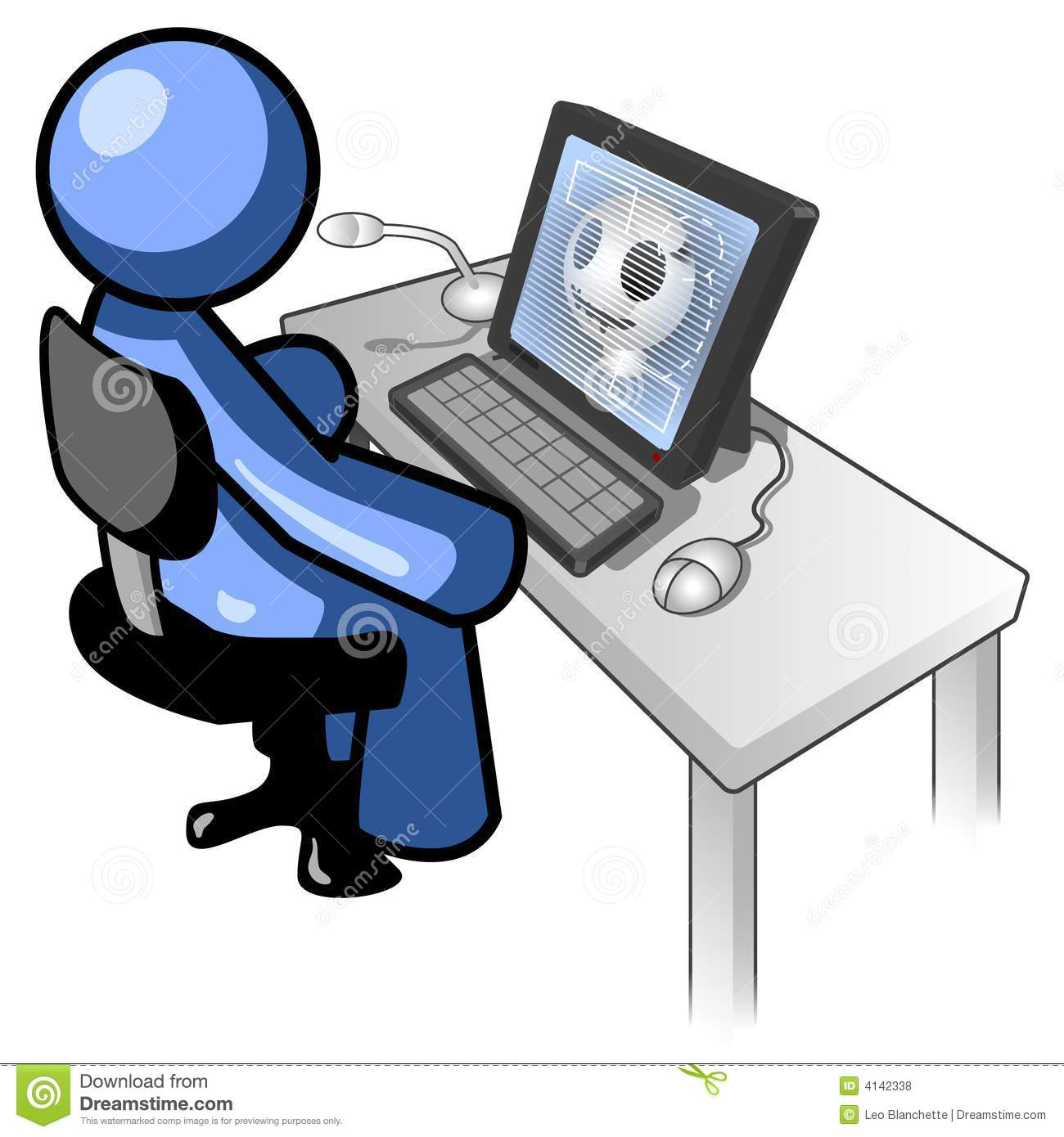 Cartoon Man Using Computer Royalty Free Stock Photos - Image: 4142338
