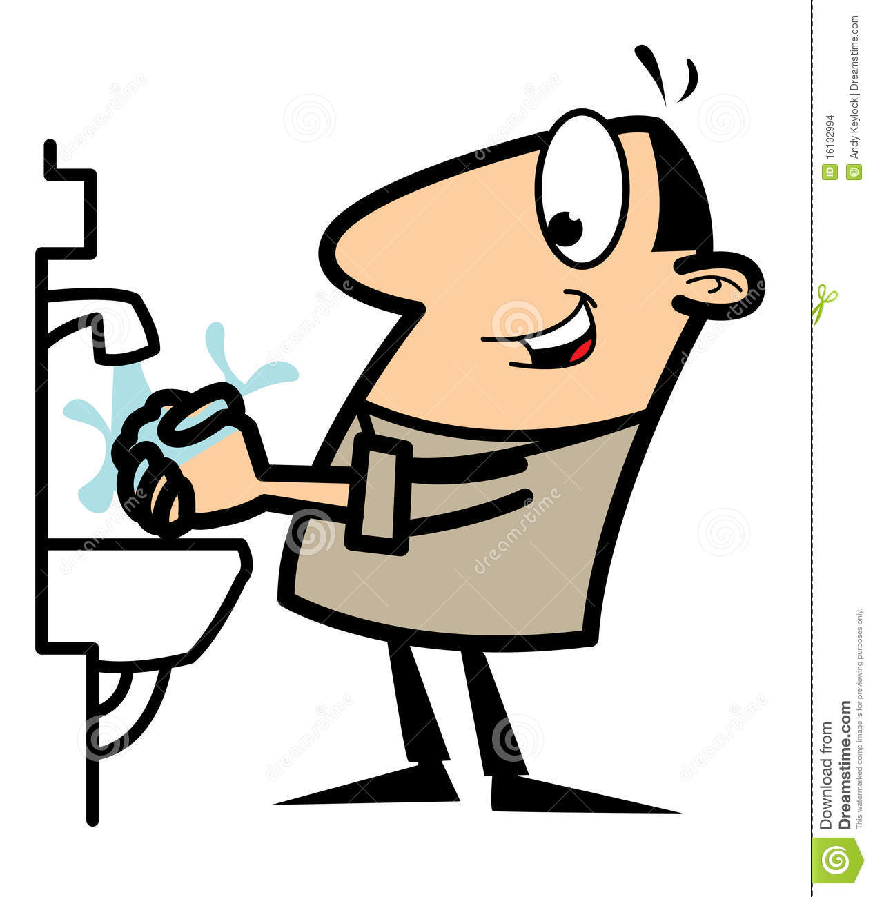 Cartoon Man Washing His Hands Stock Images - Image: 16132994
