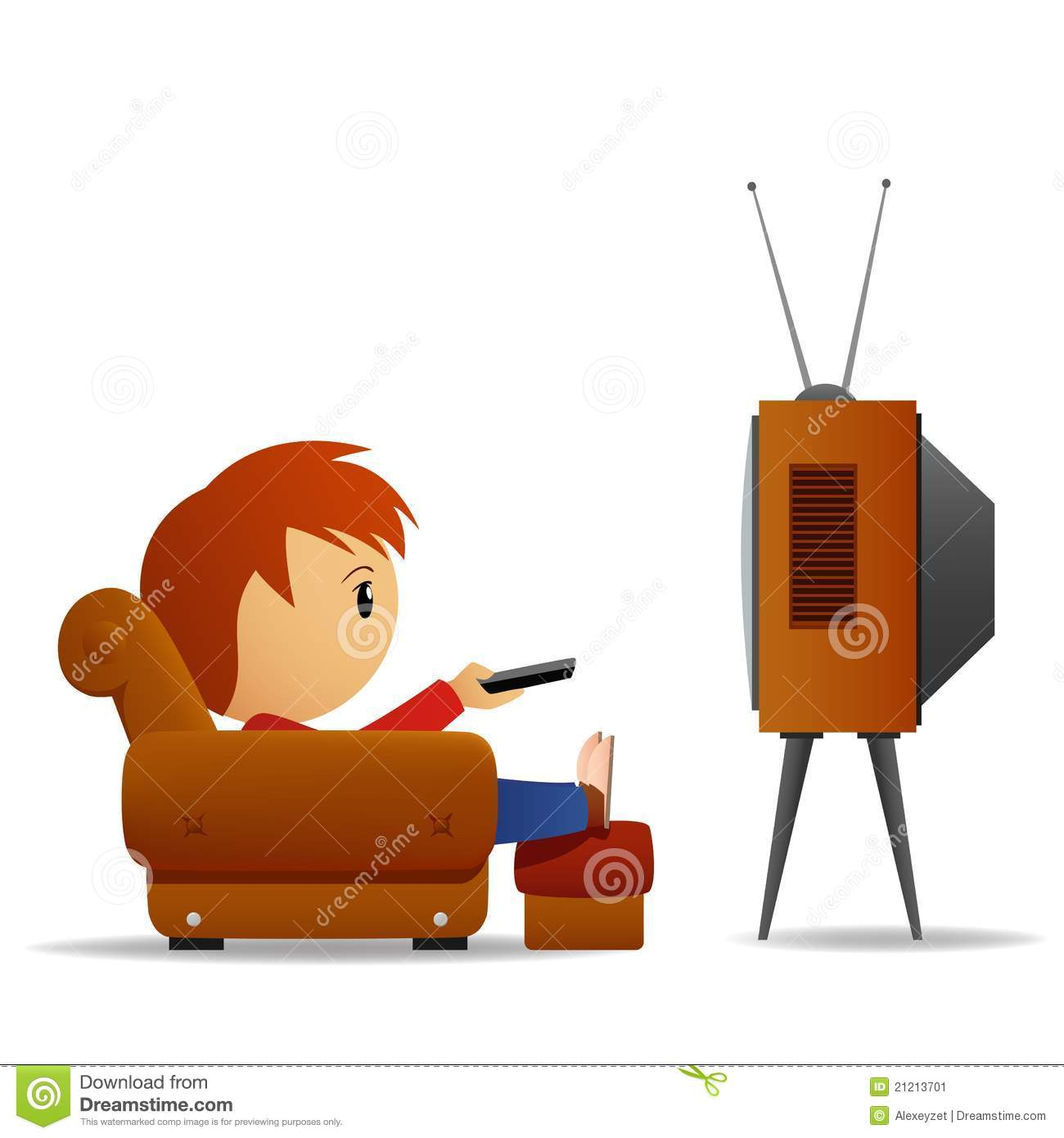 Cartoon Man Watch Tv Stock Vector Illustration Of Brown