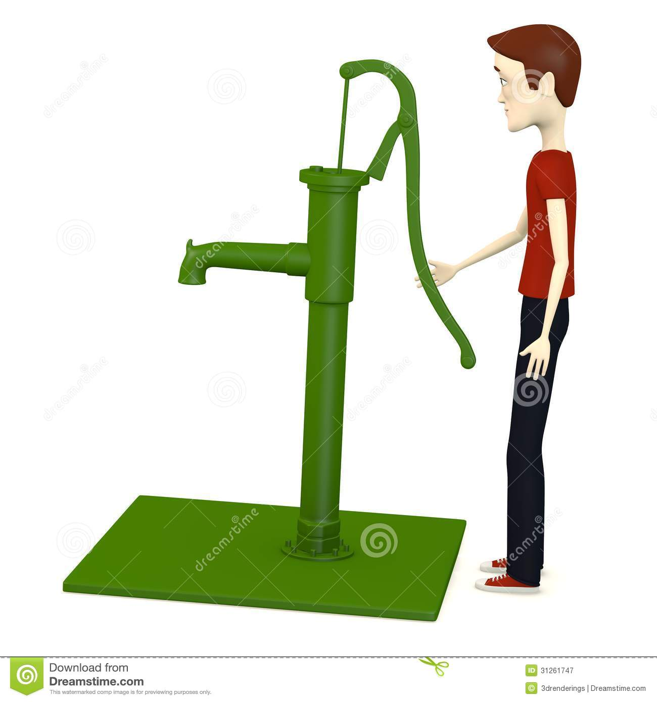 Cartoon Man With Water Pump Royalty Free Stock Photography - Image ...