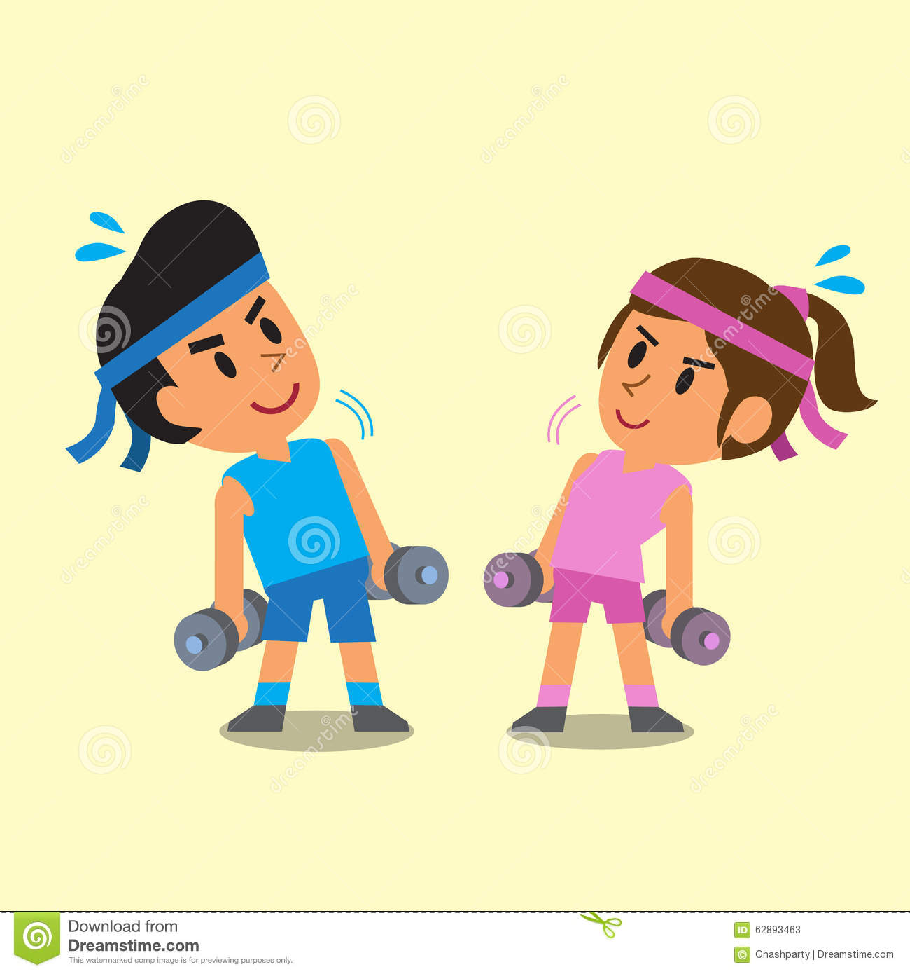 Cartoon Man And Woman Doing Dumbbells Exercise Stock Vector - Image