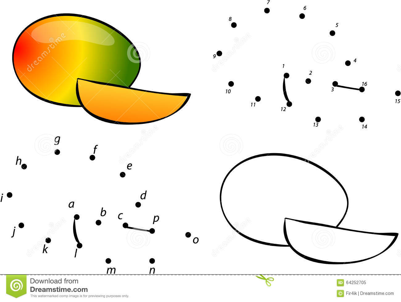cartoon mango vector illustration coloring and dot to dot game