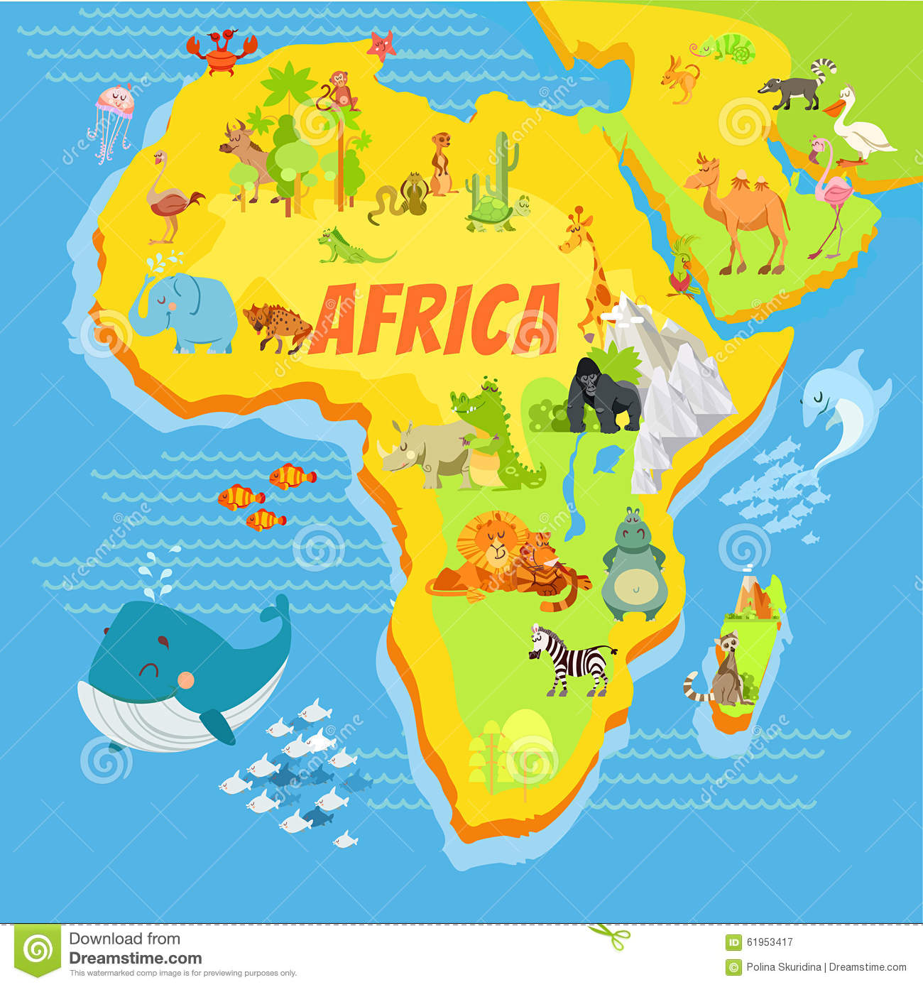Cartoon Map Of Africa With Animals Stock Vector   Illustration of