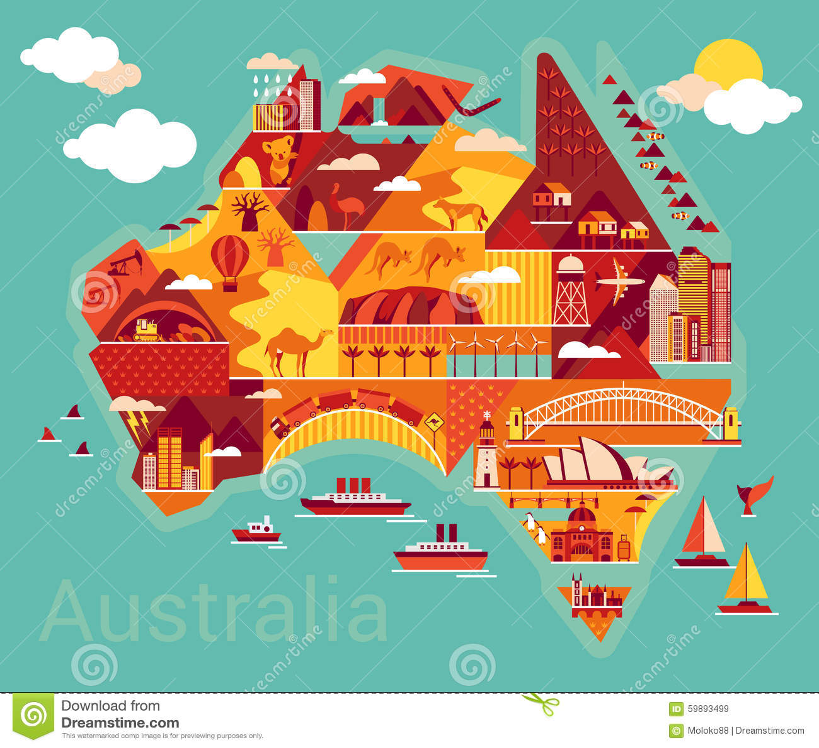 Map Of Australian Landscapes.Cartoon Map Of Australia Stock Vector Illustration Of Countryside