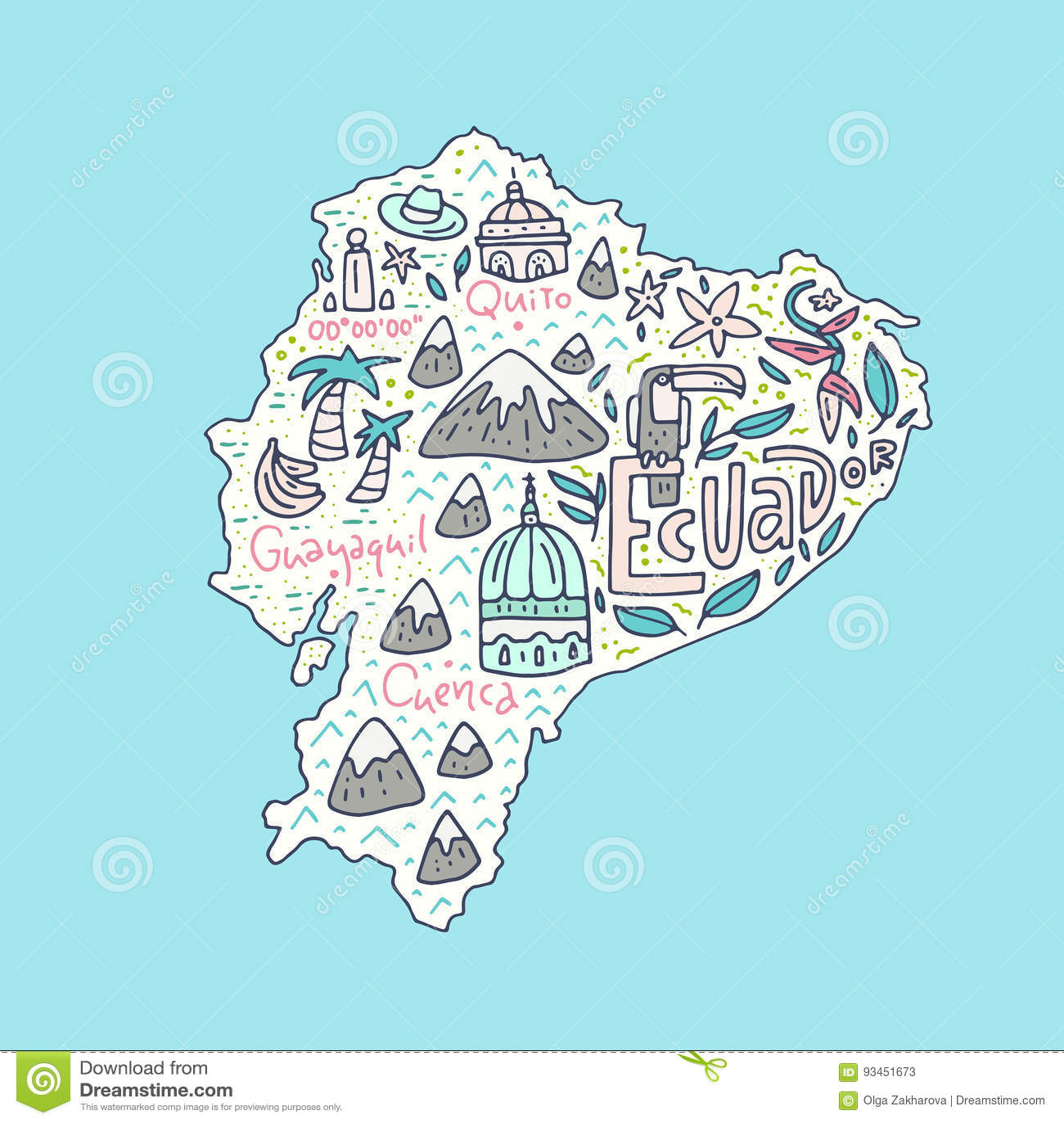 Cartoon Map of Ecuador stock vector. Illustration of city ...