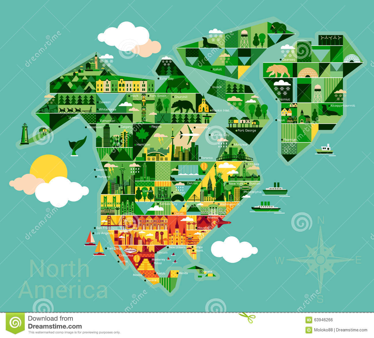 Cartoon Map Of North America Stock Vector Image - Map of n america