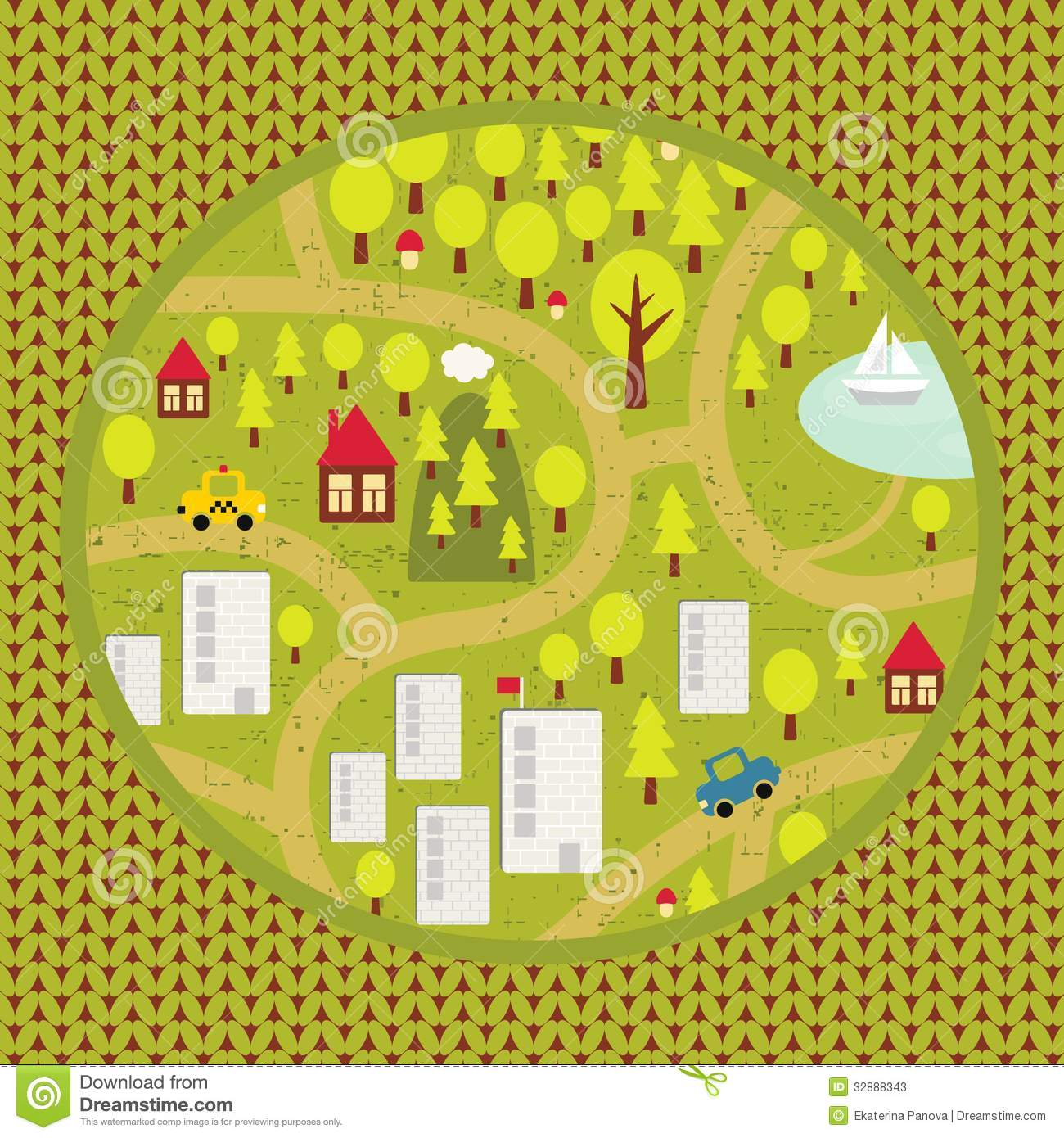 Town Landscape Vector Illustration: Cartoon Map Pattern Of Small Town And Countryside. Stock