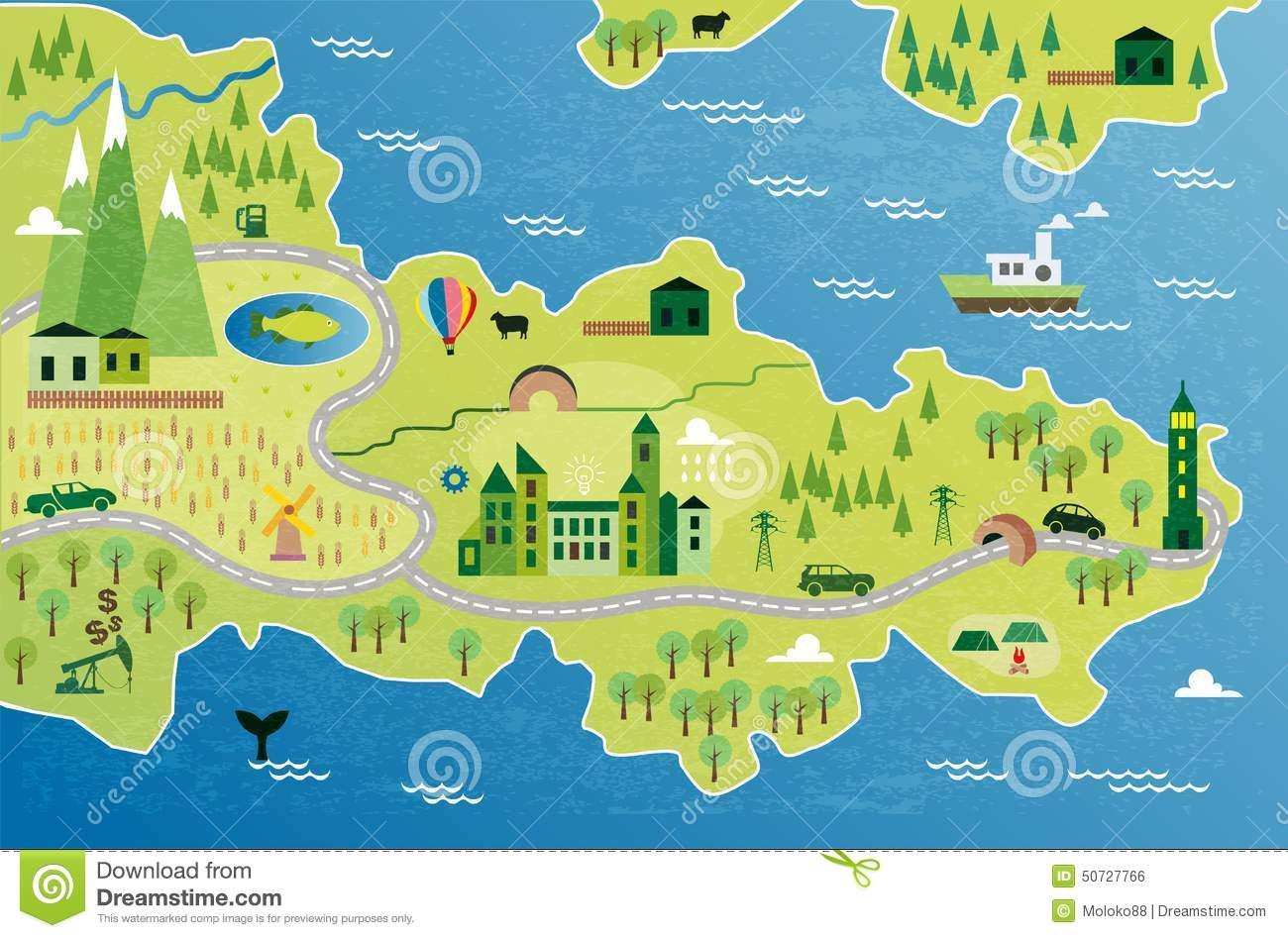 ... river mountain and houses cartoon map with river mountain and houses