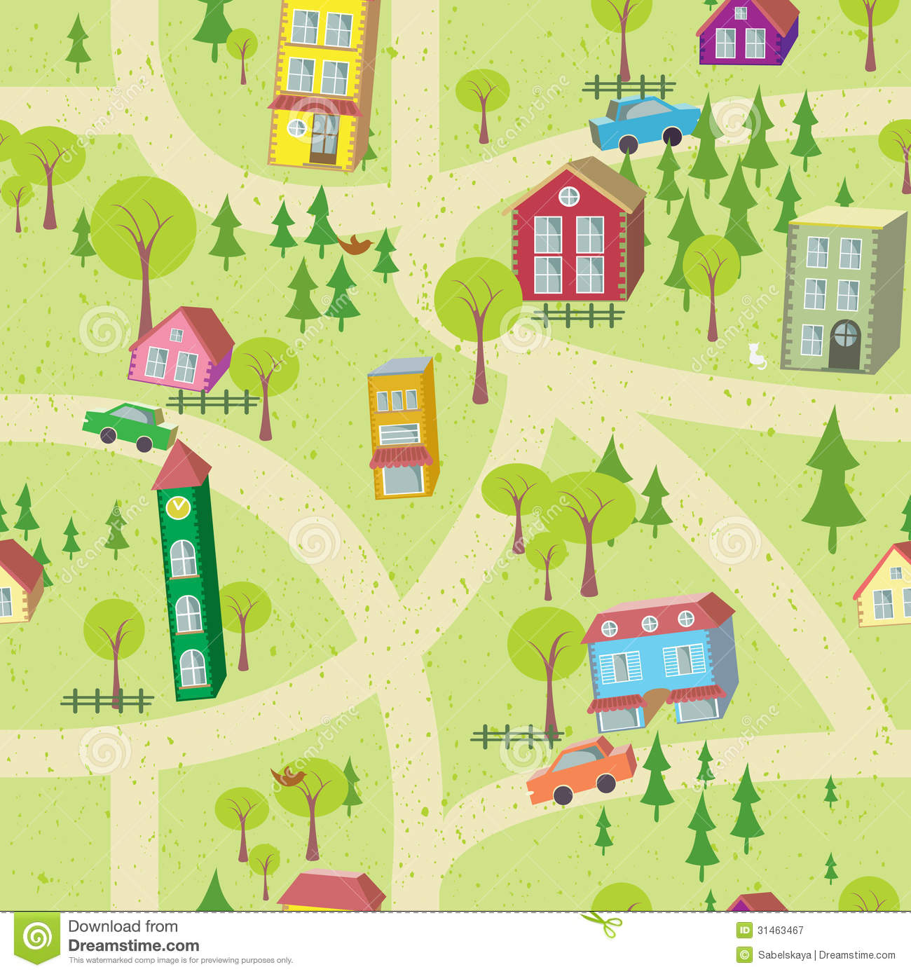 Cartoon Map Seamless Pattern With Houses And Roads Royalty