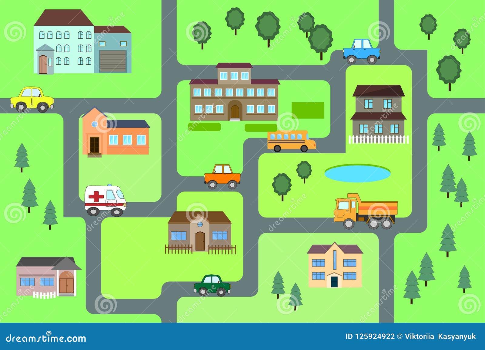 Cartoon Map Seamless Pattern Stock Vector Illustration